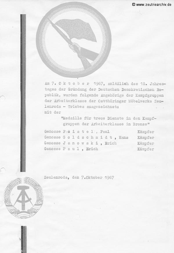 Cronik der Kampfgruppe des VEB Möbelkombinats Möbelkombinates Zeulenroda Zeutrie Zeu Trie Kampfgruppen der Betriebe der DDR