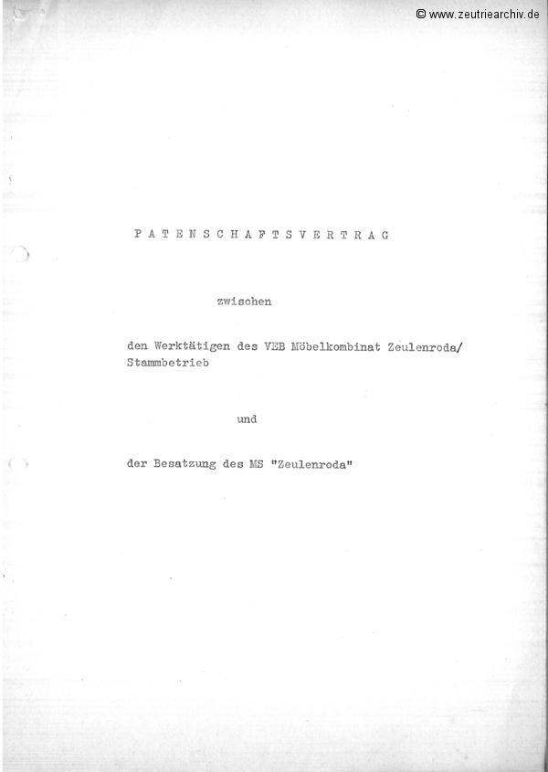 Patenschaftsvertrag zwischen MS Zeulenroda und VEB Möbelkombinat Zeulenroda DDR Zeutrie Zeu Trie