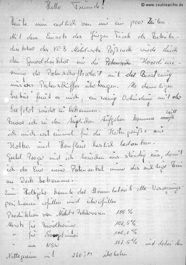 VEB Deutfracht Seerederei Schiff MS Zeulenroda ausgezeichnet