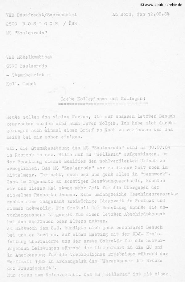 MS Hellerau Besatzung MS Zeulenroda Reisebericht 1984 Rostock Wismar