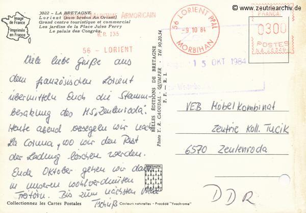 """Kartengrüße der Besatzung der MS """"Zeulenroda"""" aus Lorient Frankreich"""