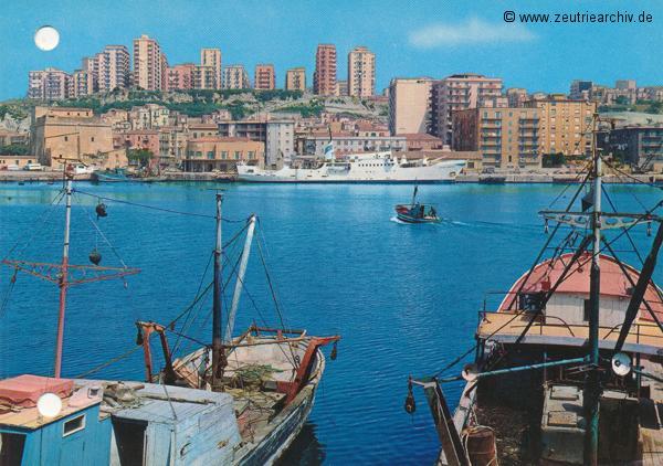 "Kartengrüße der Besatzung der MS ""Zeulenroda"" Porto Empedocle Italien"