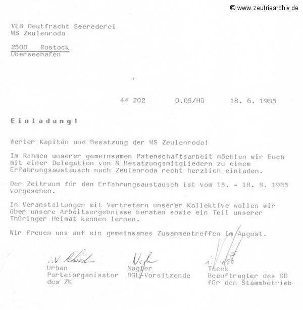 Einladung der Besatzung der MS Zeulenroda ins Möbelkombinat Zeutrie Zeu Trie