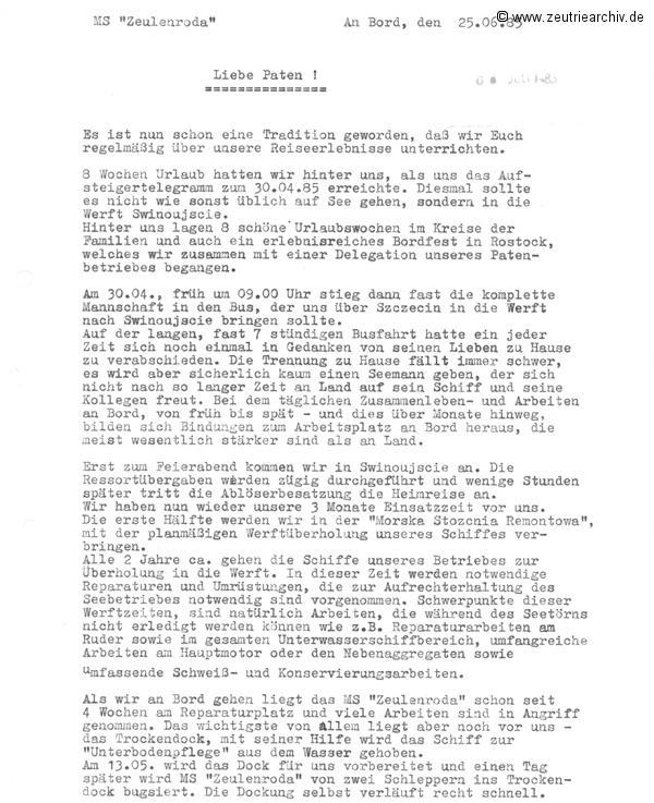 Reisebericht der MS Zeulenroda 1985