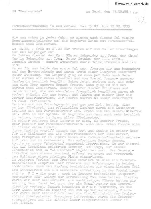 Patenschaftsbesuch von Mitgliedern der Besatzung der MS Zeulenroda im Möbelkombinat Zeutrie Zeu Trie