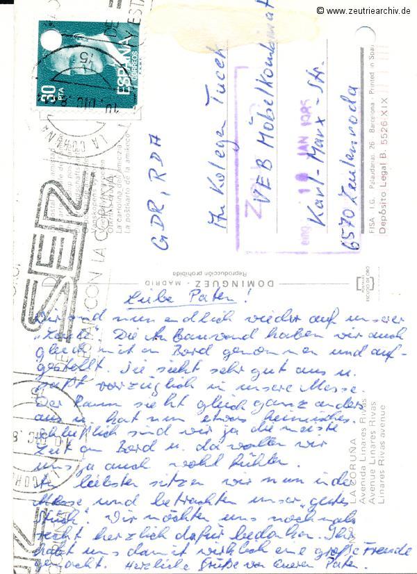 """Kartengrüße der Besatzung der MS """"Zeulenroda"""" aus La Coruna Spanien"""