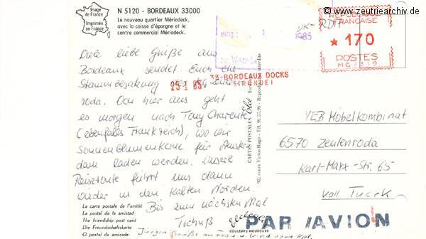"""Kartengrüße der Besatzung der MS """"Zeulenroda"""" aus Bordeaux Frankreich"""