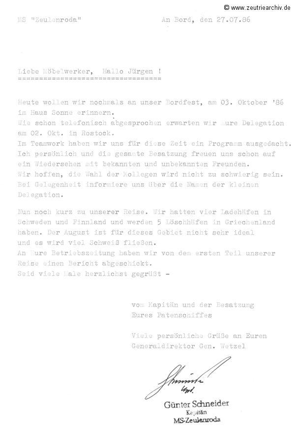 Schiff MS Zeulenroda Bordfest 1986