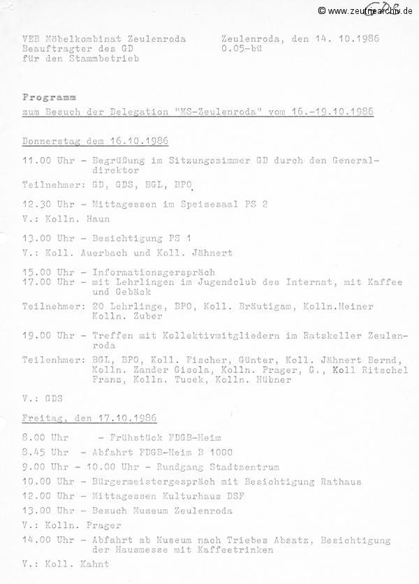 Programm zum Besuch der Delegation der MS Zeulenroda im Möbelkombinat Zeutrie Zeu Trie