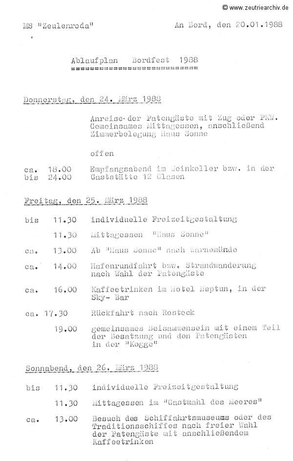 Schiff MS Zeulenroda Bordfest 1988