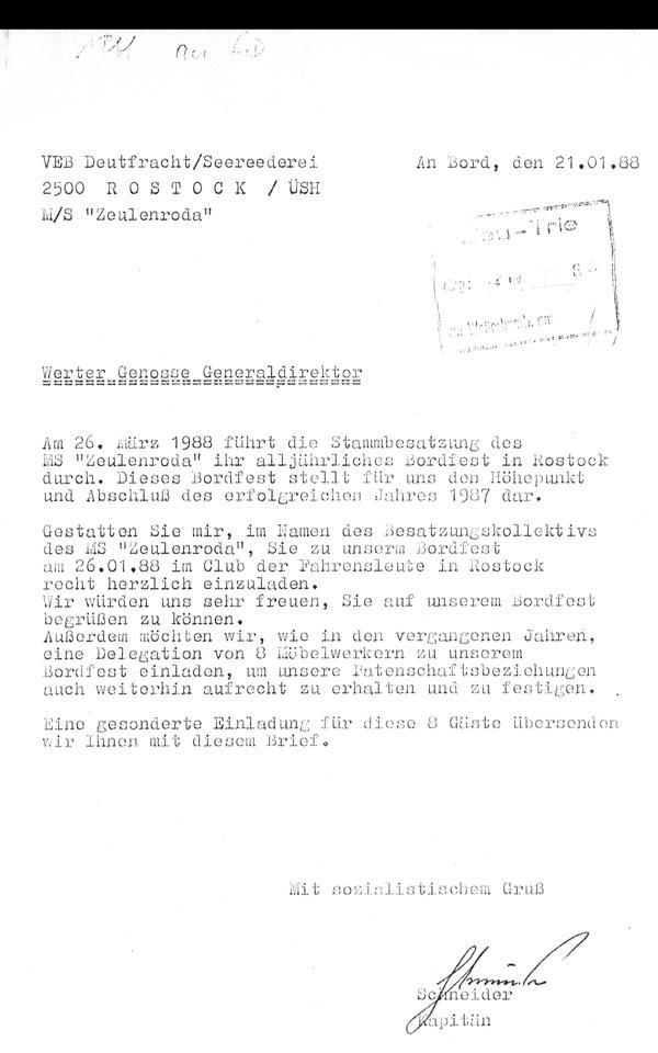 VEB Deutfracht Seerederei Rostock Schiff MS Zeulenroda
