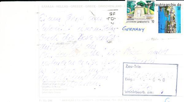 Kartengrüße der Besatzung der MS Zeulenroda aus Saloniki Griechenland