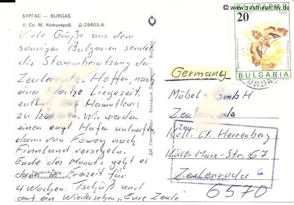 Kartengrüße der Besatzung der MS Zeulenroda aus Burgas Bulgarien