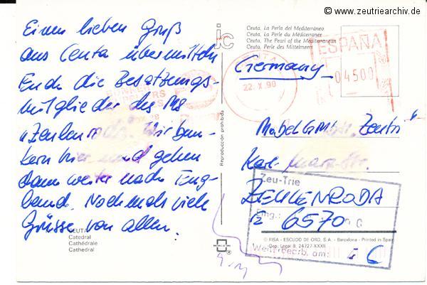 Kartengrüße der Besatzung der MS Zeulenroda aus Ceuta Spanien