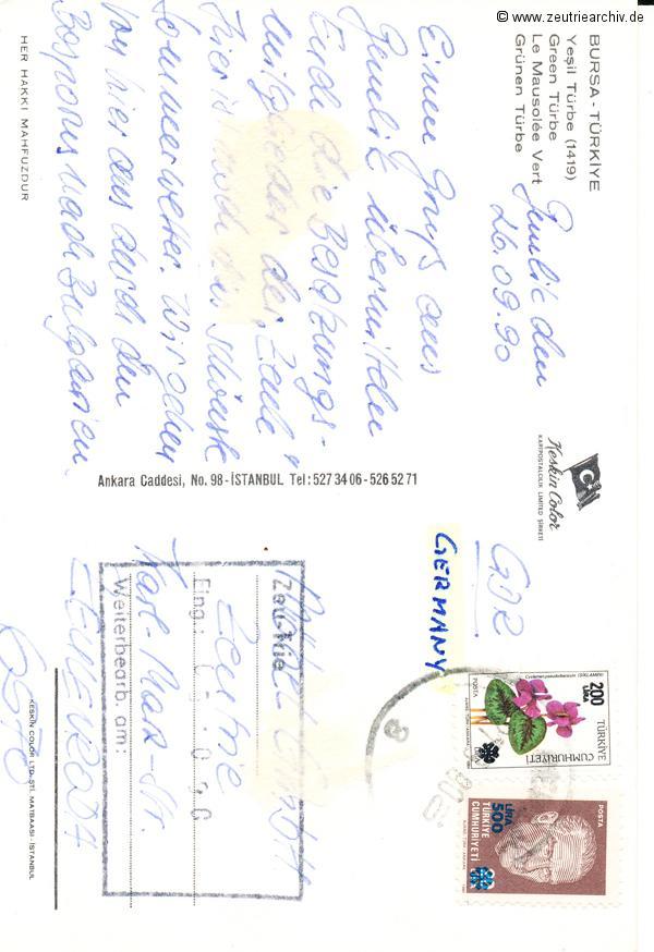 Kartengrüße der Besatzung der MS Zeulenroda aus Bursa Türkei