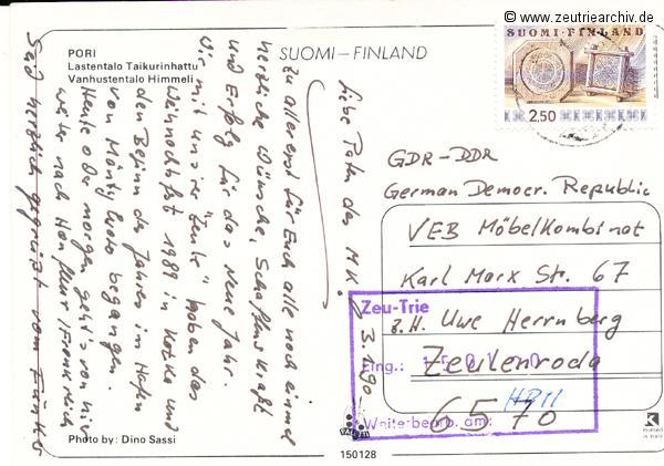 Kartengrüße der Besatzung der MS Zeulenroda aus Pori Finland Finnland