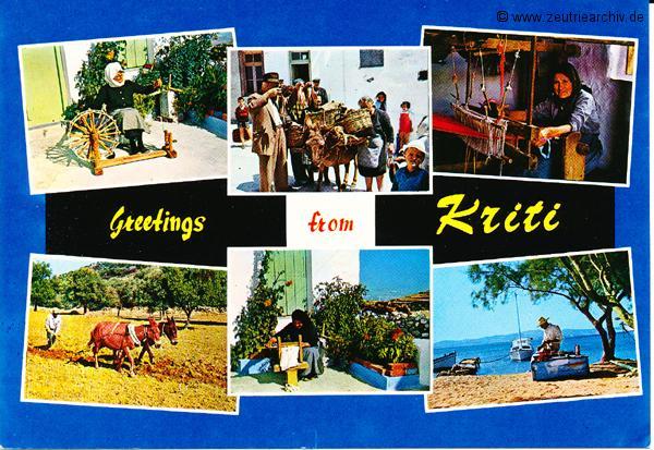 Kartengrüße der Besatzung der MS Zeulenroda aus Kreta Griechenland