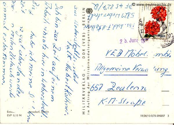 Postkarte Heribert Müller Falk Hubert Kothner NVA Kollektiv Ökonomie Hermann Krahnert des VEB Möbelkombinates Zeulenroda Zeutrie Zeu Trie 1976 bis 1977