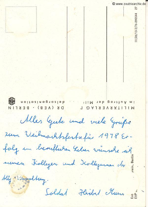 Postkarte Heribert Müller NVA Kollektiv Ökonomie Hermann Krahnert des VEB Möbelkombinates Zeulenroda Zeutrie Zeu Trie 1976 bis 1977
