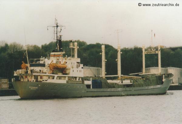 Bild von Fotograf Norbert Pilz, MS Eisenberg, Heimathafen Rostock DDR, Nord Ostsee Kanal, Kiel, Mai 1987