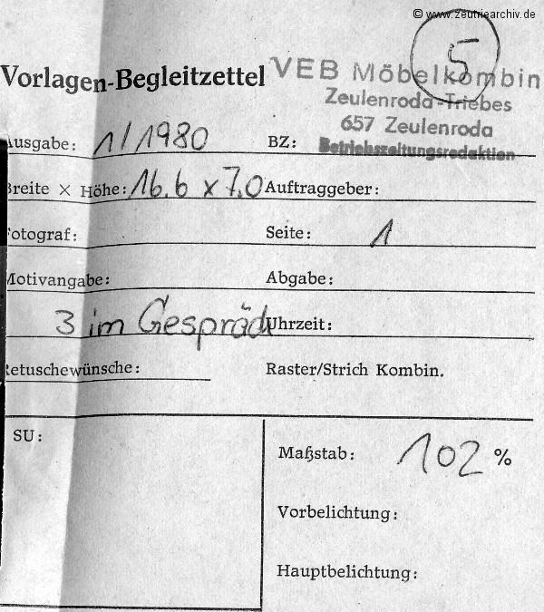 """Auf dem Foto sehen wir Genossen Bein und Genossen Wartenberg (v.l.n.r.) im freundschaftlichen Gespräch mit Rudi Franke vom Montagekollektiv """"Ernst Thälmann""""."""