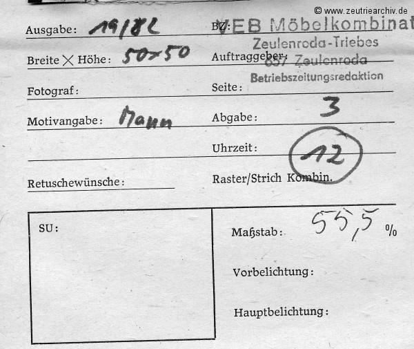 Zeutrie Echo die Betriebszeitung vom VEB Möbelkombinat Zeulenroda Ausgabe 19 aus dem Jahr 1982 mit zusätzlichen Fotos bzw. Bildern und Begleitzettel