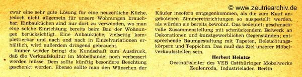 Industrieladen Berlin Zeutrie Möbel Zeulenroda Herbert Heintze DDR Presse Informationen