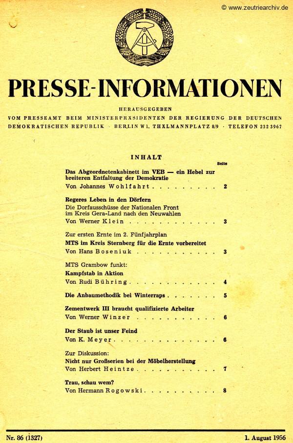 Industrieladen Berlin Zeutrie Möbel Zeulenroda DDR Presseinformationen Herbert Heintze