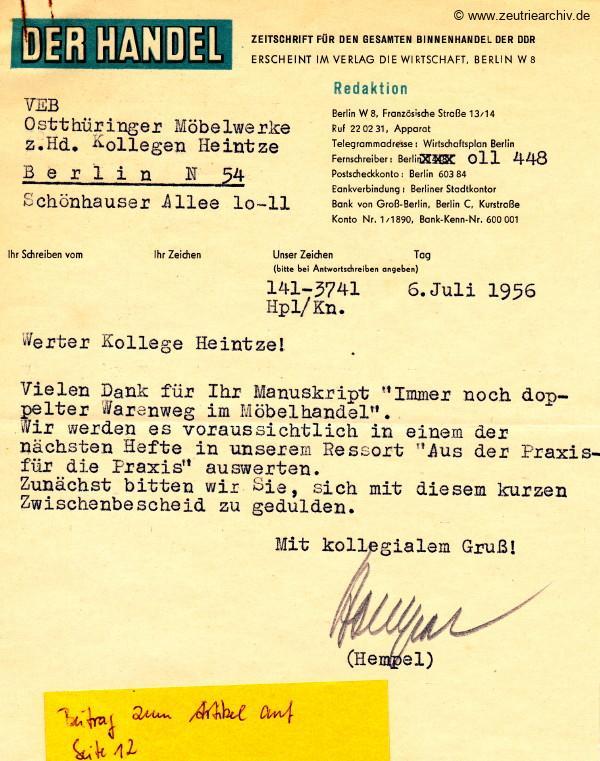 Industrieladen Berlin Zeutrie Möbel Zeulenroda DDR Der Handel Kollege Heintze