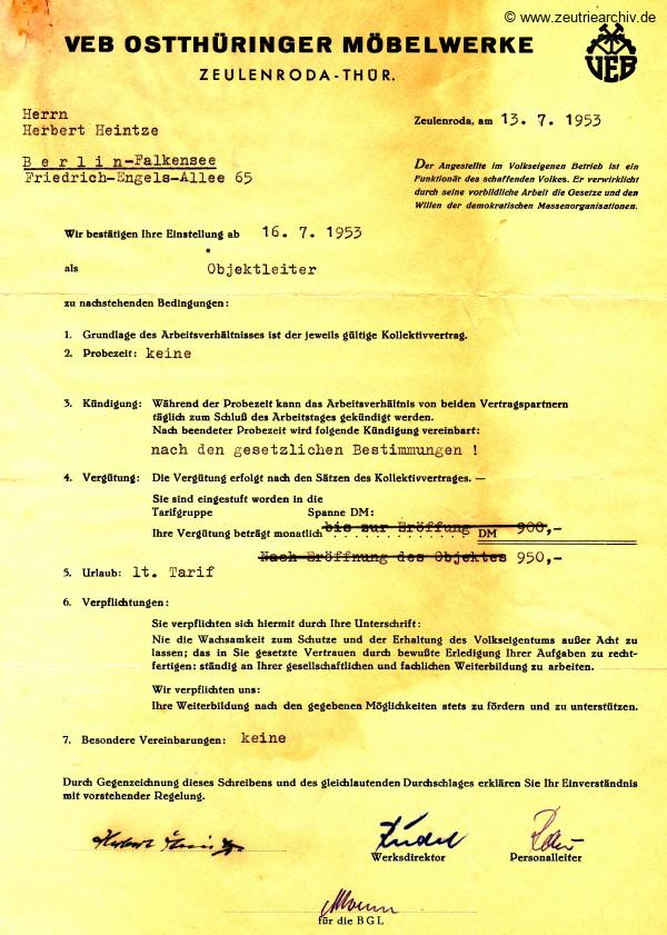 Zeuro Zeutrie Möbel Zeulenroda Industrieladen Berlin Anstellungsvertrag