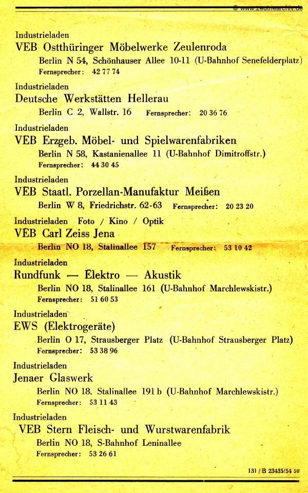 Ausstellung VEB Ostthüringer Möbelwerke Zeulenroda Zeutrie Berlin Schönhauser Allee