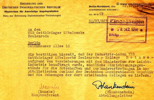 VEB Ostthüringer Möbelwerke Zeulenroda Zeutrie Berlin Schönhauser Allee Manske Blankenstein Botschaften Auslandsvertretungen der DDR