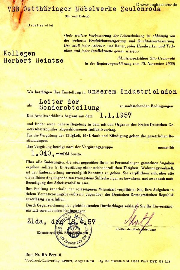 Zeutrie Möbel Industrieladen Berlin Anstellungsvertrag