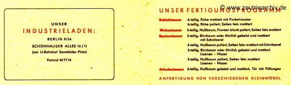 Ostthüringer Möbelwerke Industrieladen Berlin Visitenkarte