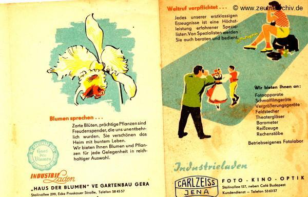 DDR Industrieläden Berlin Zeutrie Möbel Zeulenroda Industrieladen Ostthüringer Möbelwerke Haus der Blumen Gartenbau Gera Carl Zeiss Jena