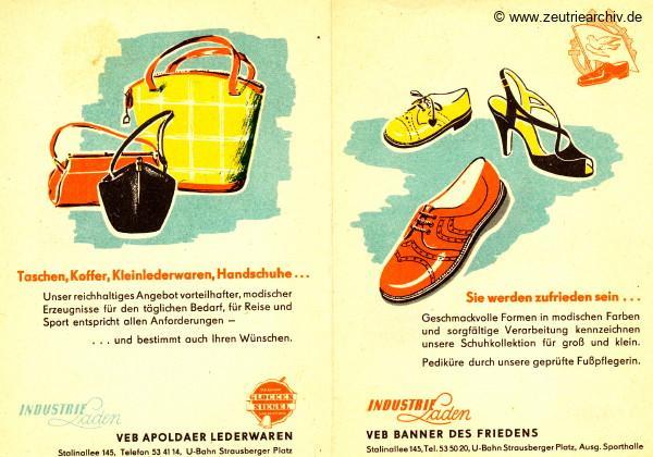 DDR Industrieläden Berlin Zeutrie Möbel Zeulenroda Industrieladen Ostthüringer Möbelwerke VEB Apoldaer Lederwaren VEB Banner des Friedens