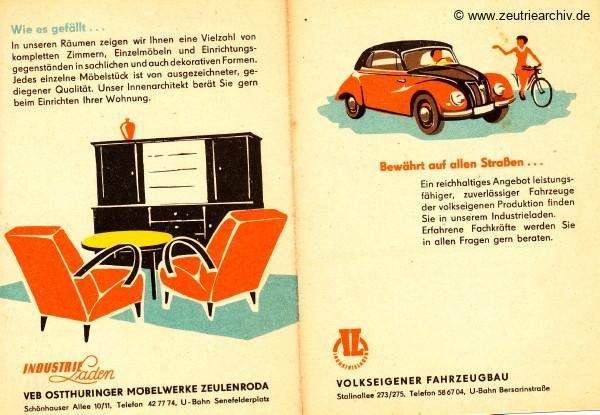 DDR Industrieläden Berlin Zeutrie Möbel Zeulenroda Industrieladen Ostthüringer Möbelwerke Volkseigener Fahrzeugbau