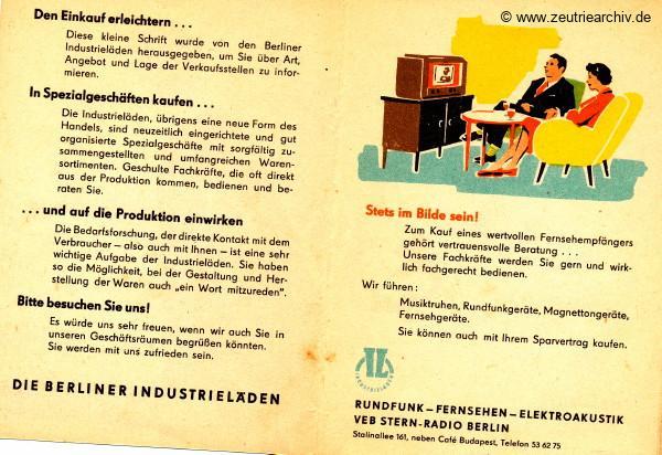 DDR Industrieläden Berlin Zeutrie Möbel Zeulenroda Industrieladen Ostthüringer Möbelwerke VEB Stern Radio Berlin