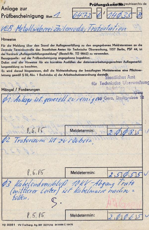 Ordner Trafostation des VEB Metallweberei Neustadt Orla Betriebsteil Zeulenroda Baderschneider Lenzner DDR heute Zeuro Zeutrie Möbel