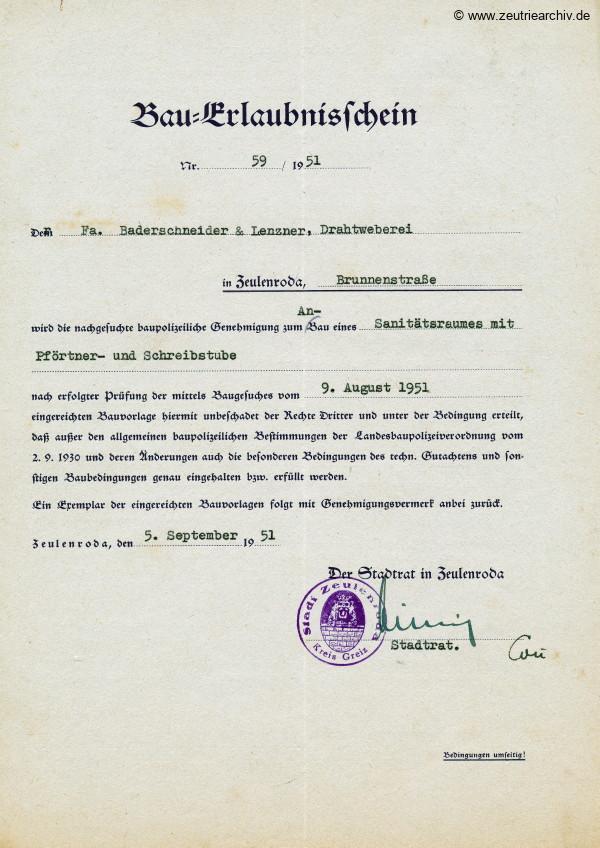 Ordner DWO21 diverse Dokumente 3. Reich und DDR des VEB Metallweberei Neustadt Orla Betriebsteil Zeulenroda Baderschneider Lenzner DDR heute Zeuro Zeutrie Möbel